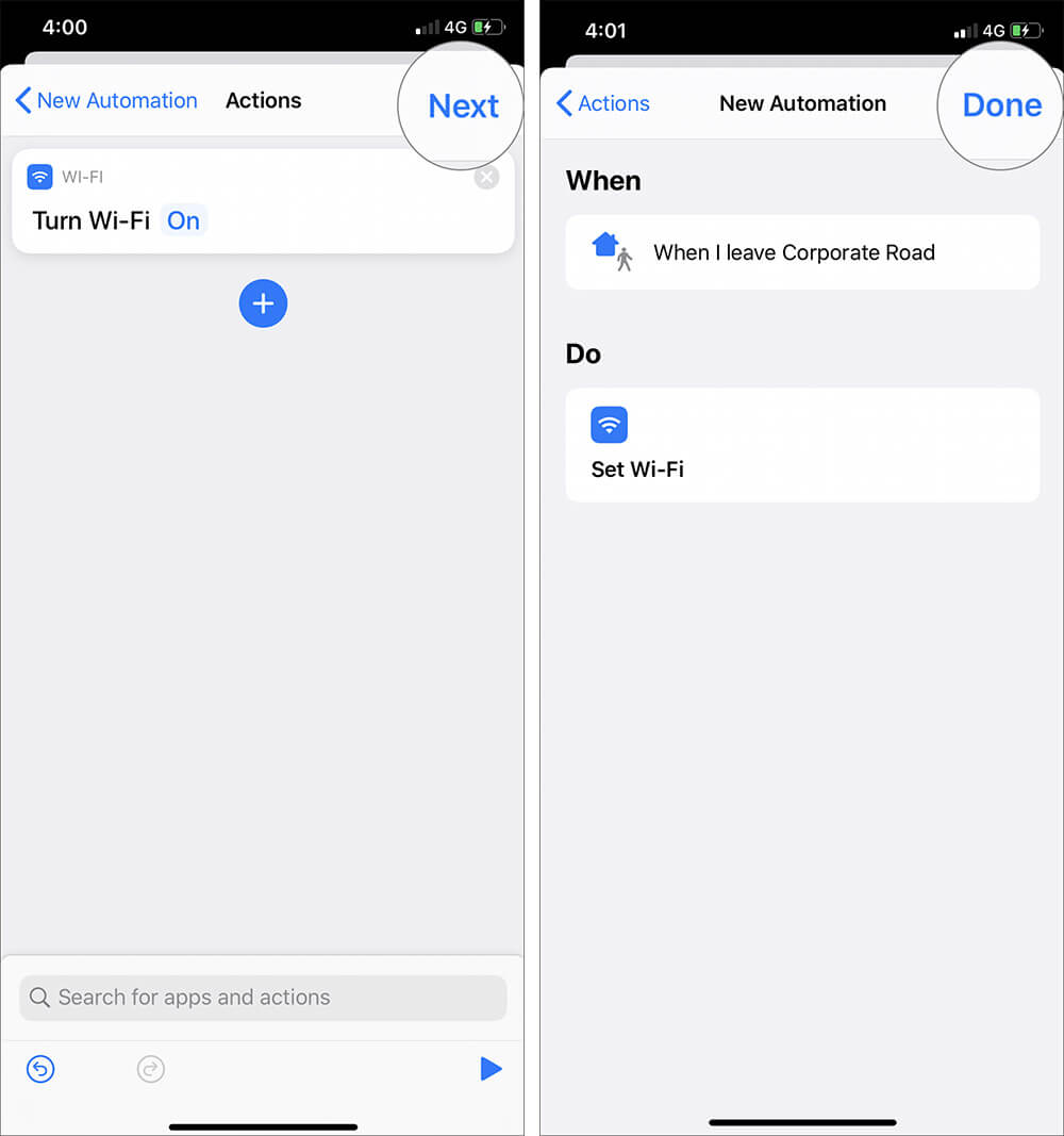 Tap on Next and Done to Create Wi-Fi Automation Shortcuts in iOS 13