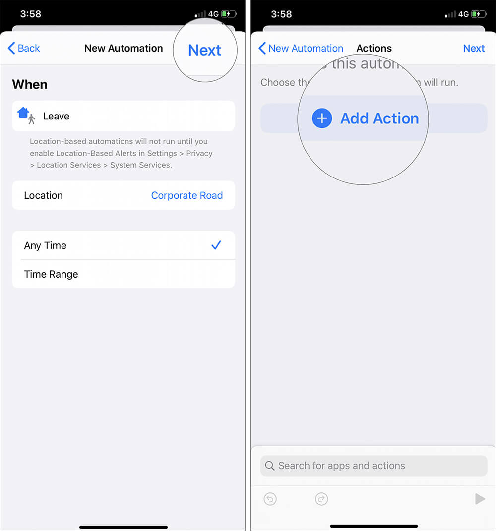 Tap on Next and Select Add Action in iOS 13 Automation Shortcut