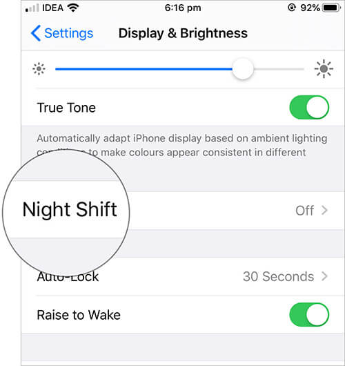 Tap on Night Shift in iPhone Display and Brightness Settings