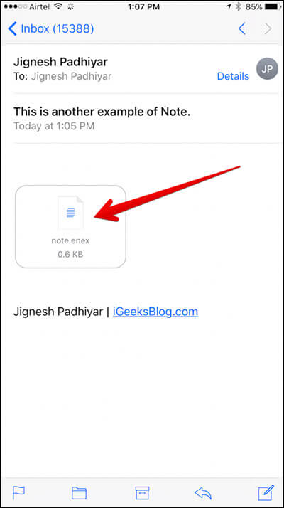 Tap on Note in Mail Attachment on iPhone