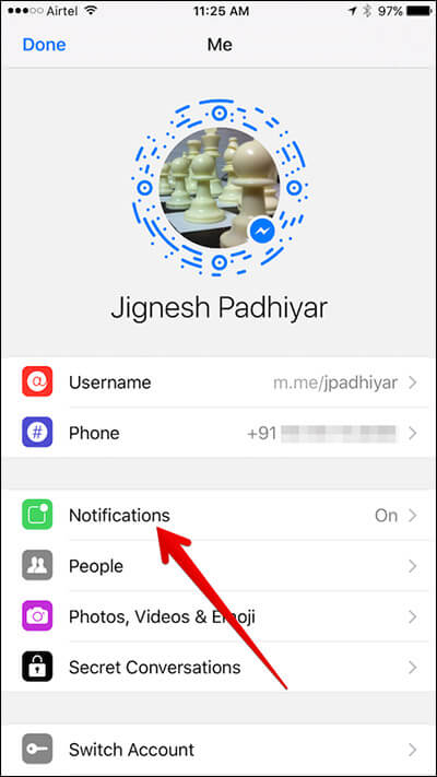Tap on Notifications in Messenger App on iPhone