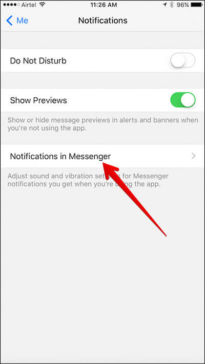 Tap on Notifications in Messenger in Messenger App on iPhone