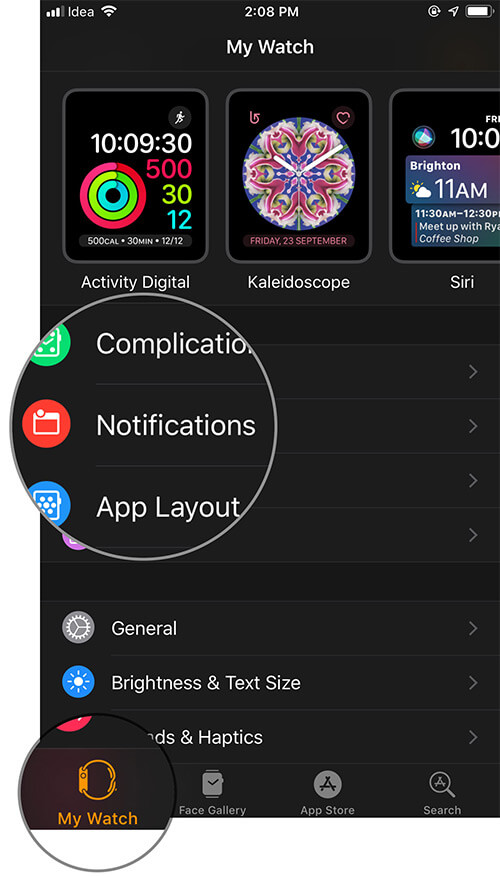 Tap on Notifications in Watch app on iPhone