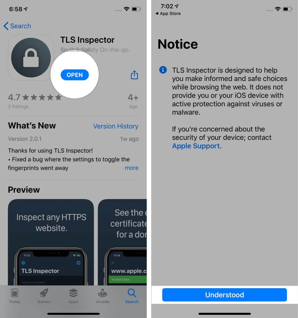 Tap on Open and Then Tap Understood to Launch TLS Inspector on iPhone