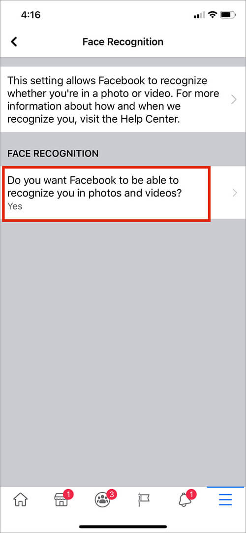 Tap on Option Under Face Recognition in iOS Facebook App