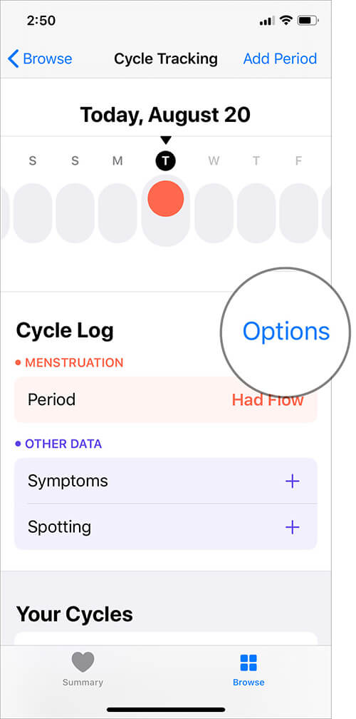 Tap on Options next to Cycle Log in iOS Health App