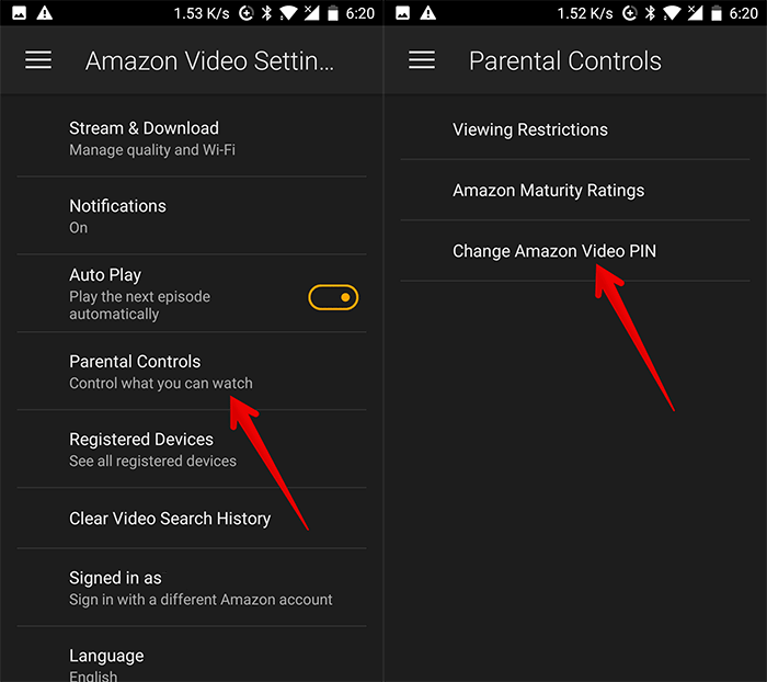 Tap on Parental Control then Tap on Change Amazon Video PIN on Android Phone