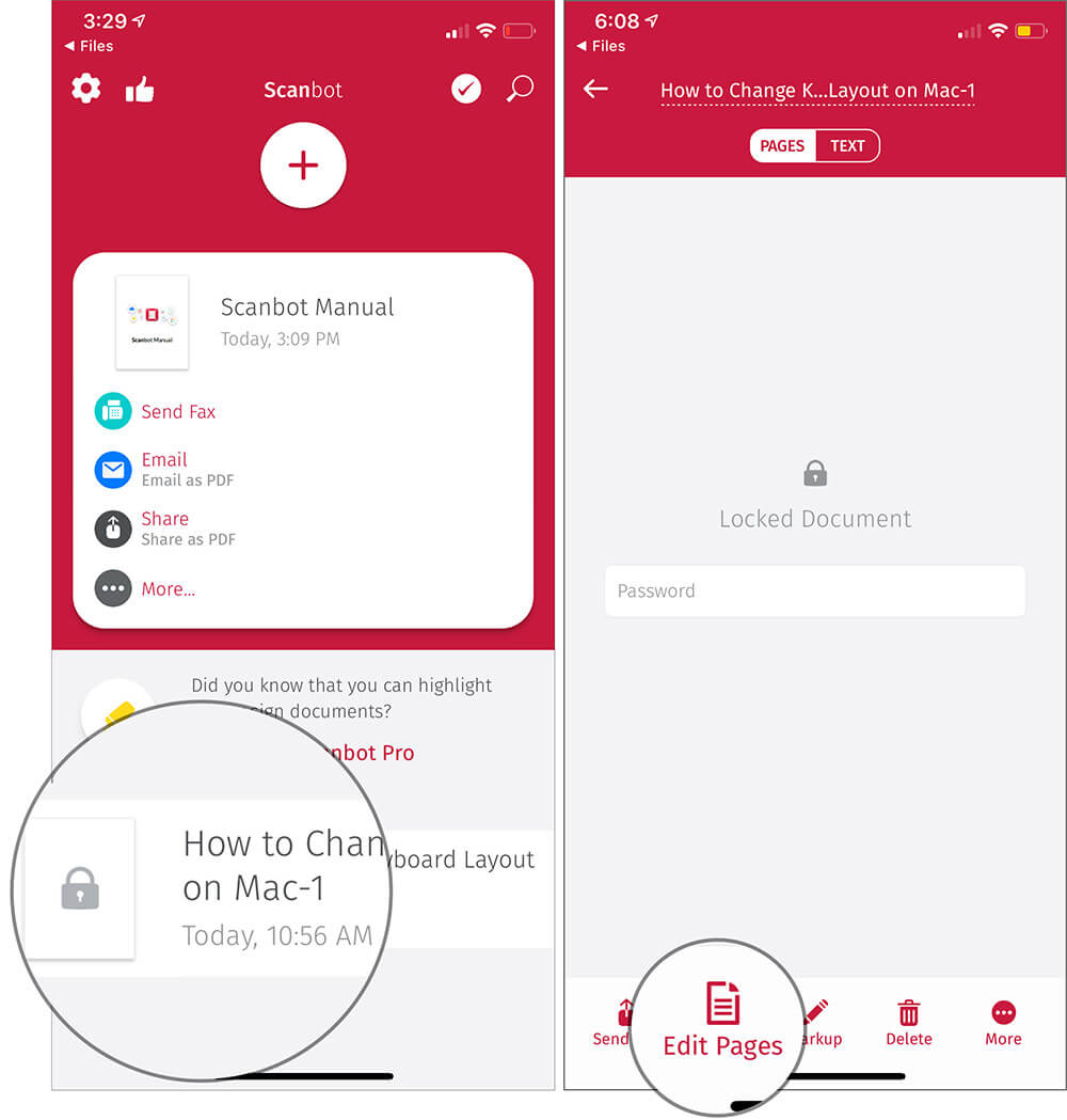 Tap on Password Protected File and Then tap on Edit Pages in iOS Scanbot App