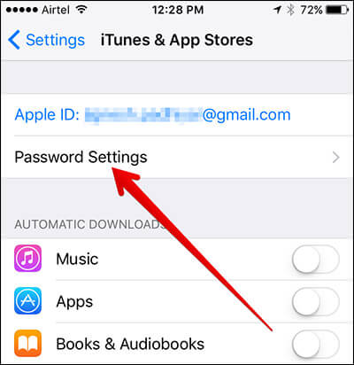 Tap on Password Settings in iOS 10 on iPhone