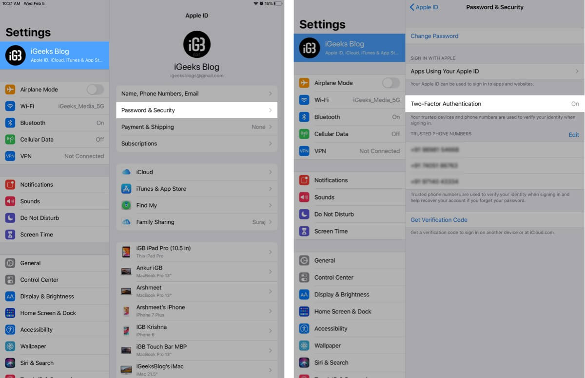 Tap on Password and Security to Check Two-Factor Authentication on iPad