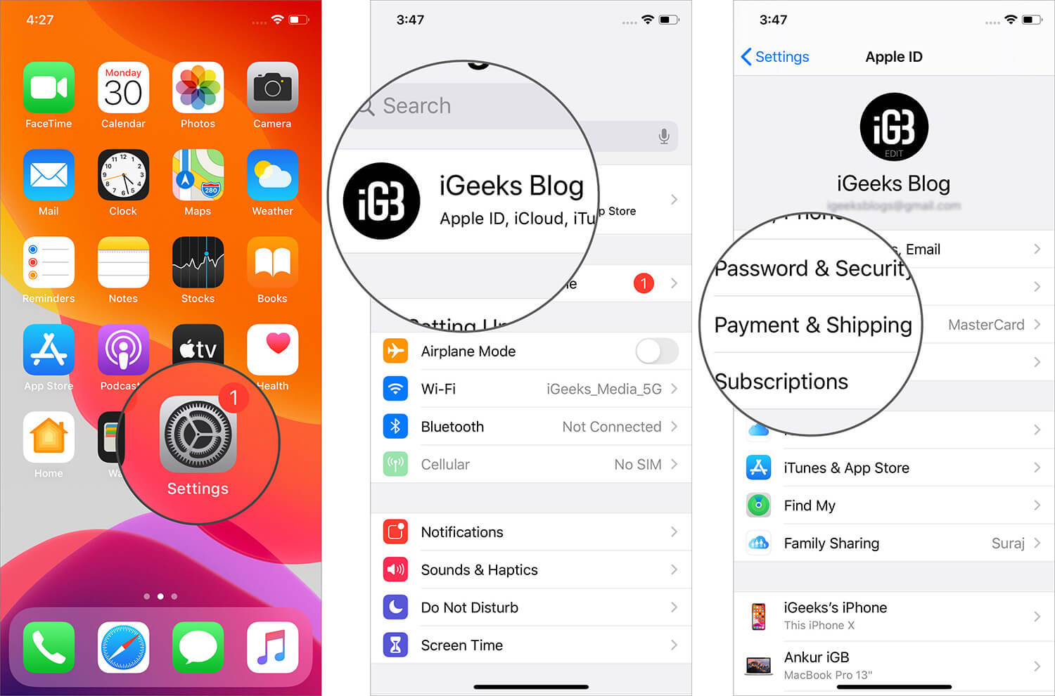 Tap on Payment & Shipping in Profile Settings on iPhone
