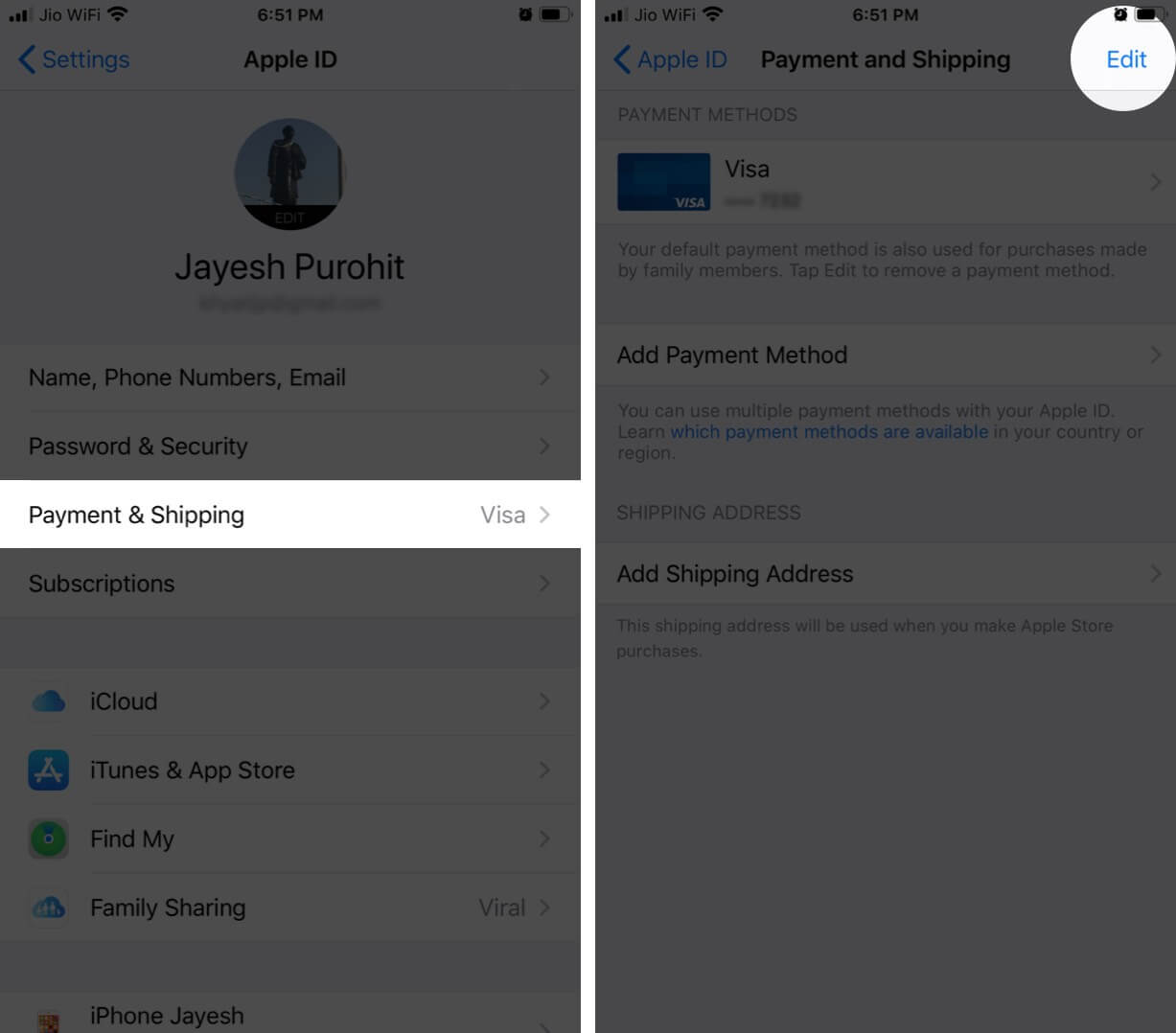 Tap on Payment and Shipping and Then Tap on Edit in Apple ID on iPhone