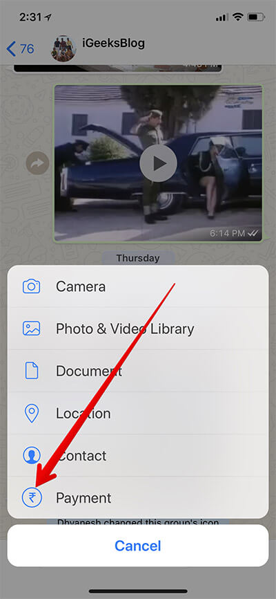 Tap on Payment in WhatsApp Group on iPhone