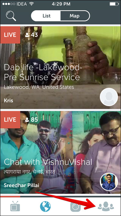 Tap on People tab in Periscope App