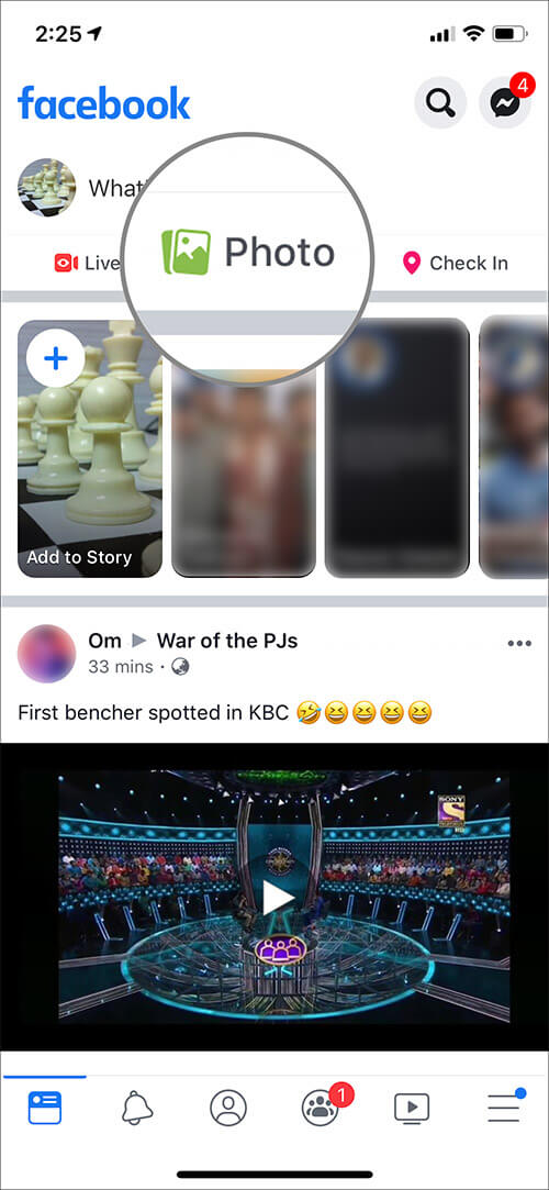 Tap on Photos in Facebook on iPhone or iPad