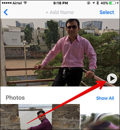 Tap on Play Button in People Album in iOS 10