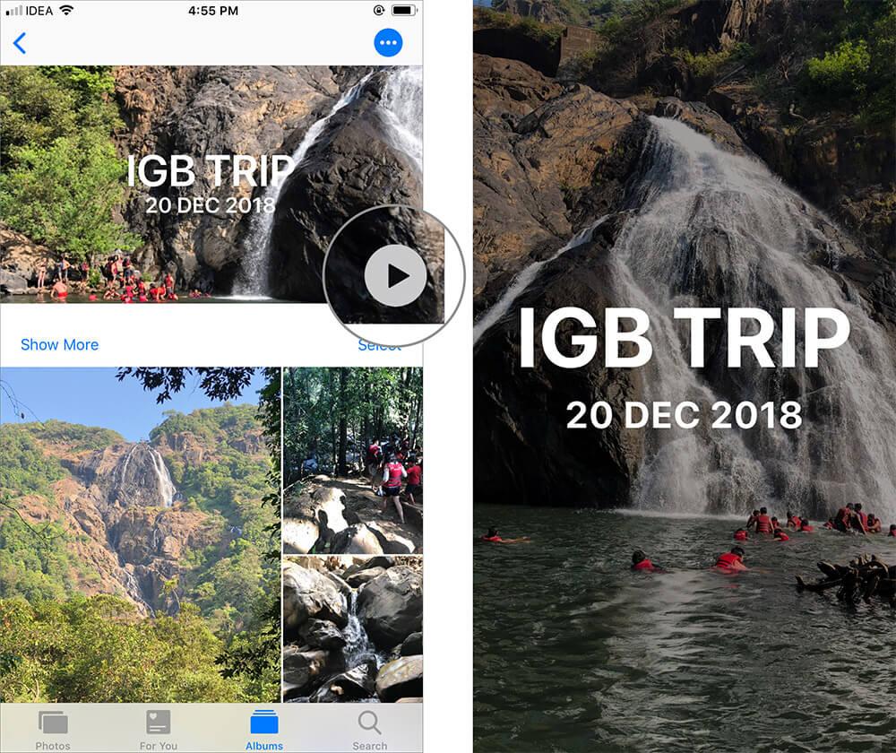 Tap on Play in Memories in iOS Photos App