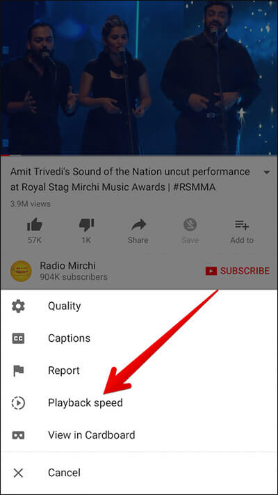 Tap on Playback Speed in YouTube App on iPhone