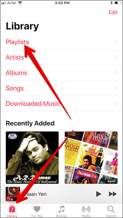 Tap on Playlist in Apple Music Library on iPhone