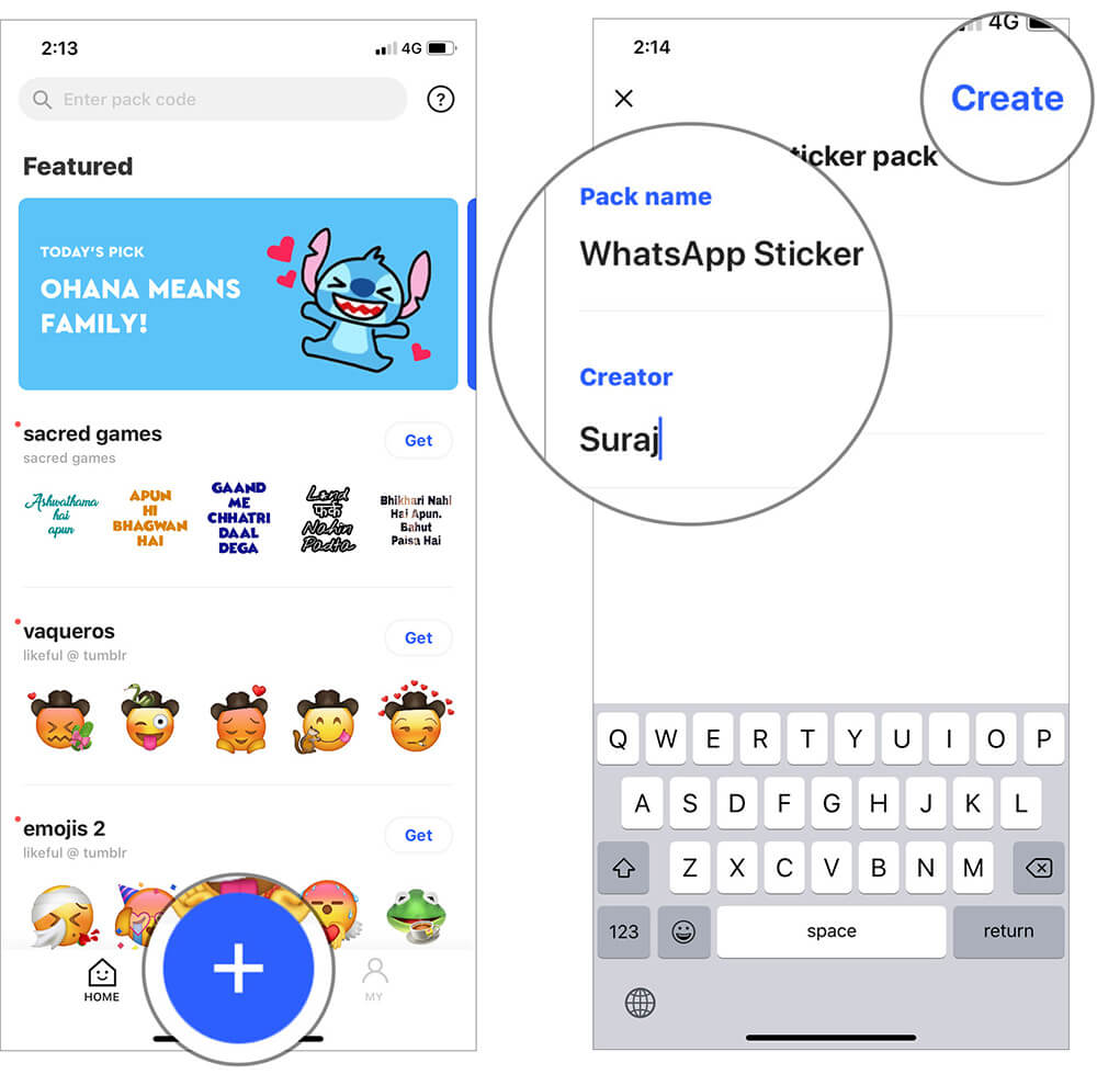 Tap on Plus Button and Enter Sticker Name in iOS Sticker.ly App