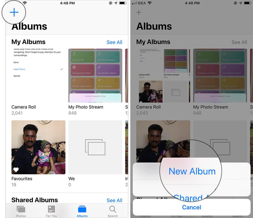 Tap on Plus Icon and New Album in iOS Photos App