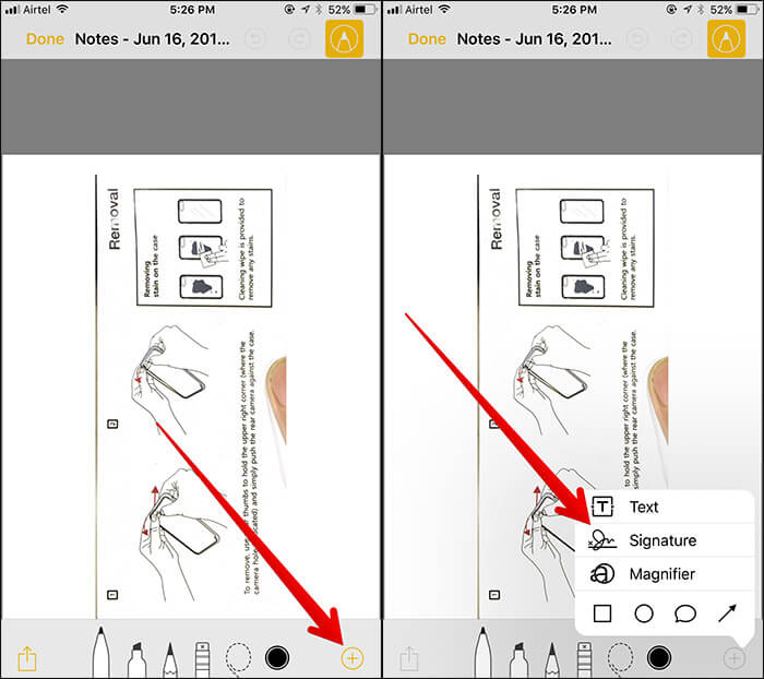 Tap on Plus Sign then Tap on Signature in Notes App on iPhone