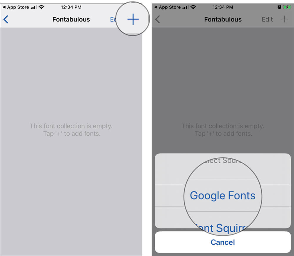 Tap on Plus and Select Google Fonts in Fonteer App
