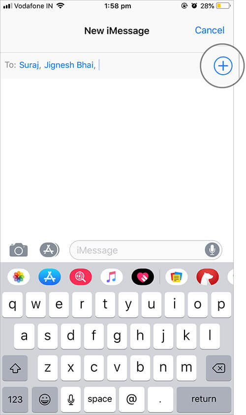 Tap on Plus button to add recipients to Group iMessage