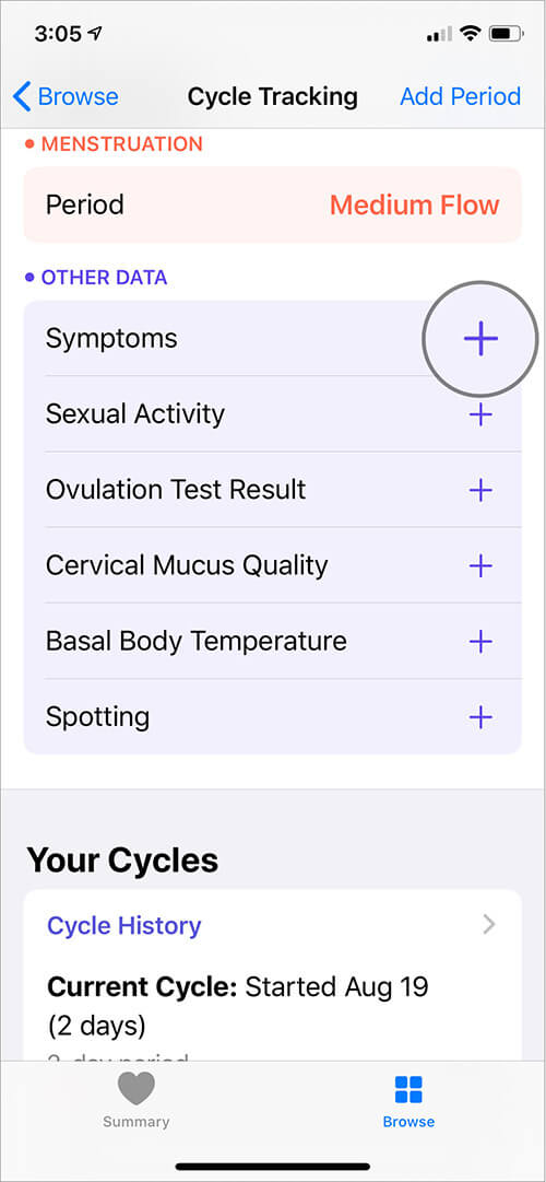 Tap on Plus icon next to Symptoms to Cycle Tracking in iOS Health App