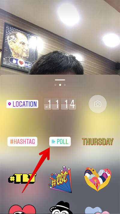 Tap on Poll in Instagram on iPhone