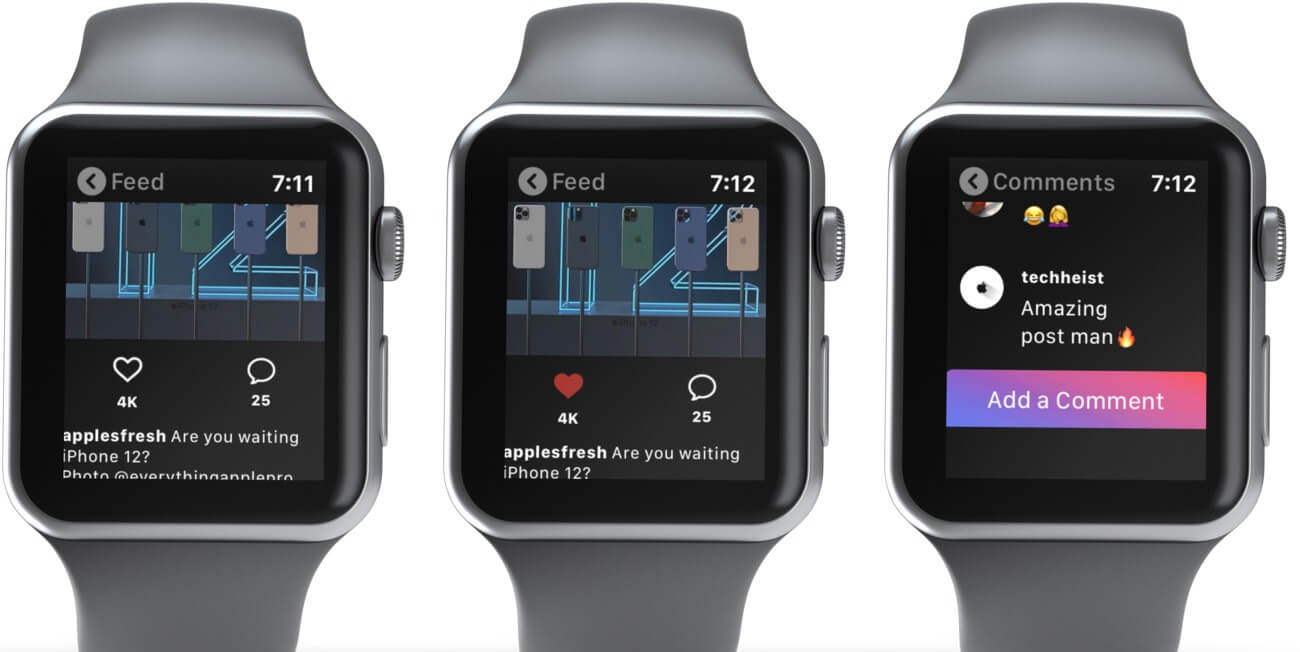 Tap on Post in Instagram Feed to Like it or Add Comment on Apple Watch