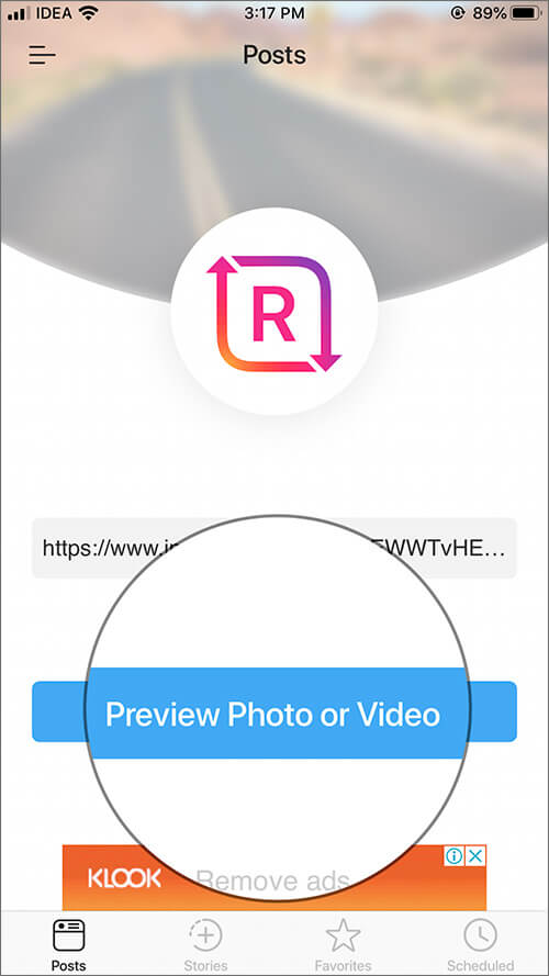 Tap on Preview Photo or Video in iOS Regrammer app