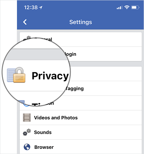 Tap on Privacy in Facebook Settings on iPhone, iPad, or Android Phone