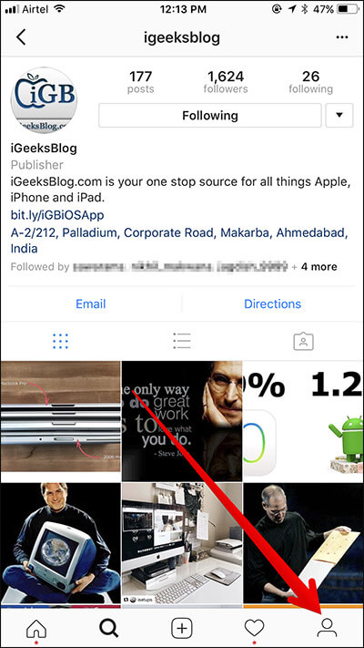 Tap on Profile Button in Instagram on iPhone