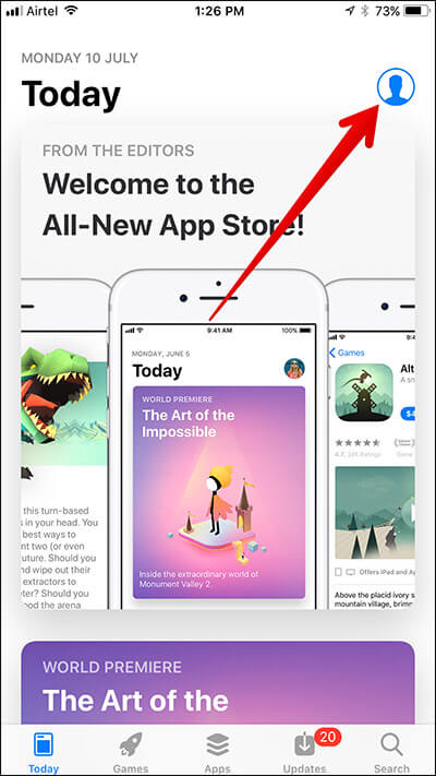 Tap on Profile Icon in App Store on iPhone