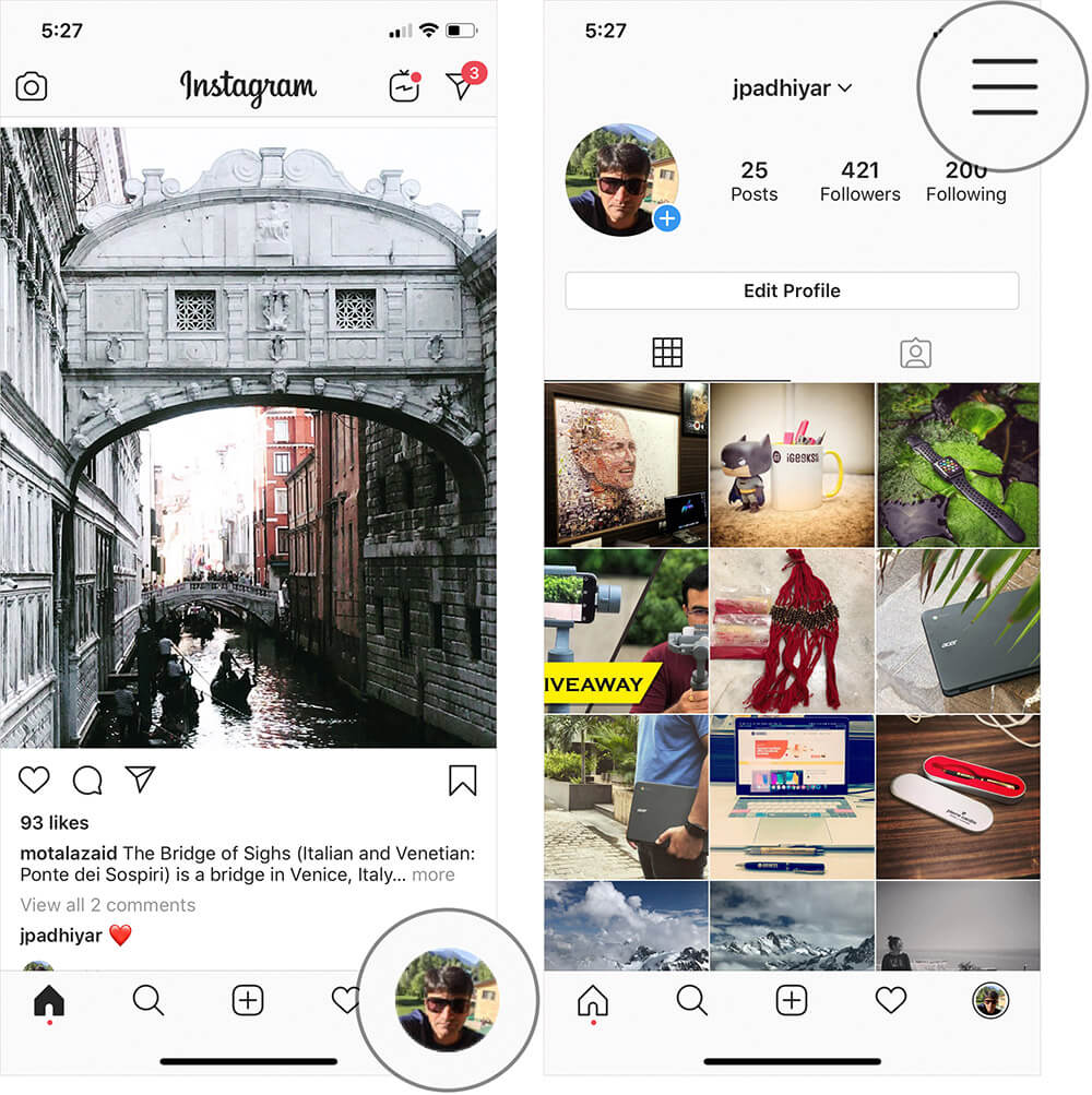 Tap on Profile Icon then Hamburger Icon in Instagram on iPhone or Android