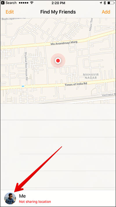 Tap on Profile Picture in Find My Friends App on iPhone