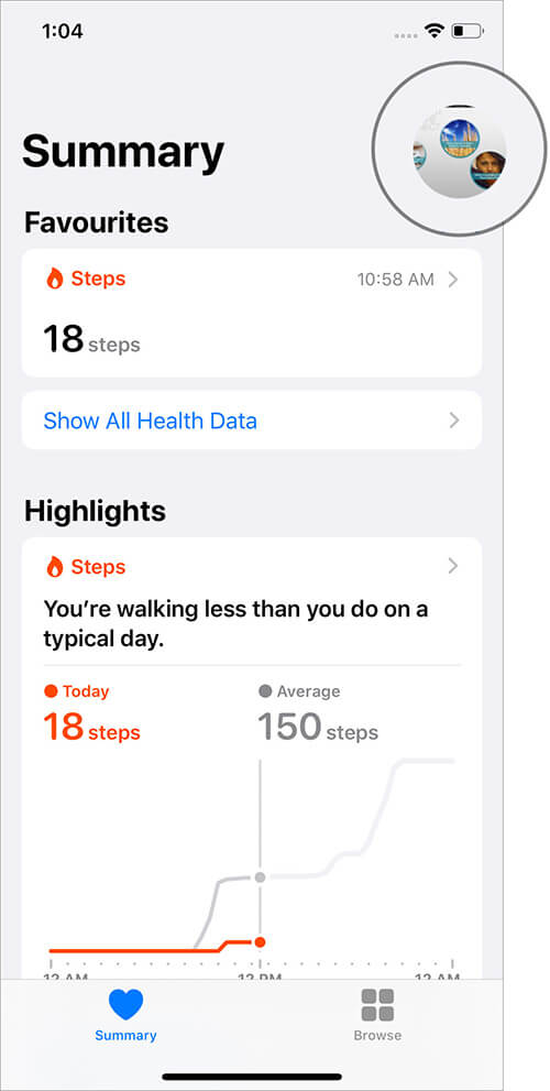 Tap on Profile Picture in iPhone Health App