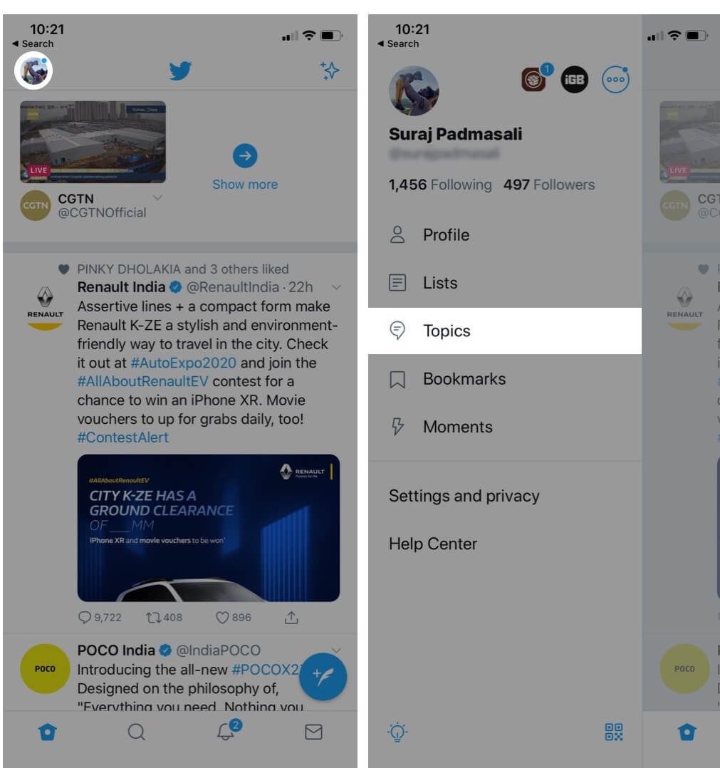 Tap on Profile and Select Topics in Twitter App