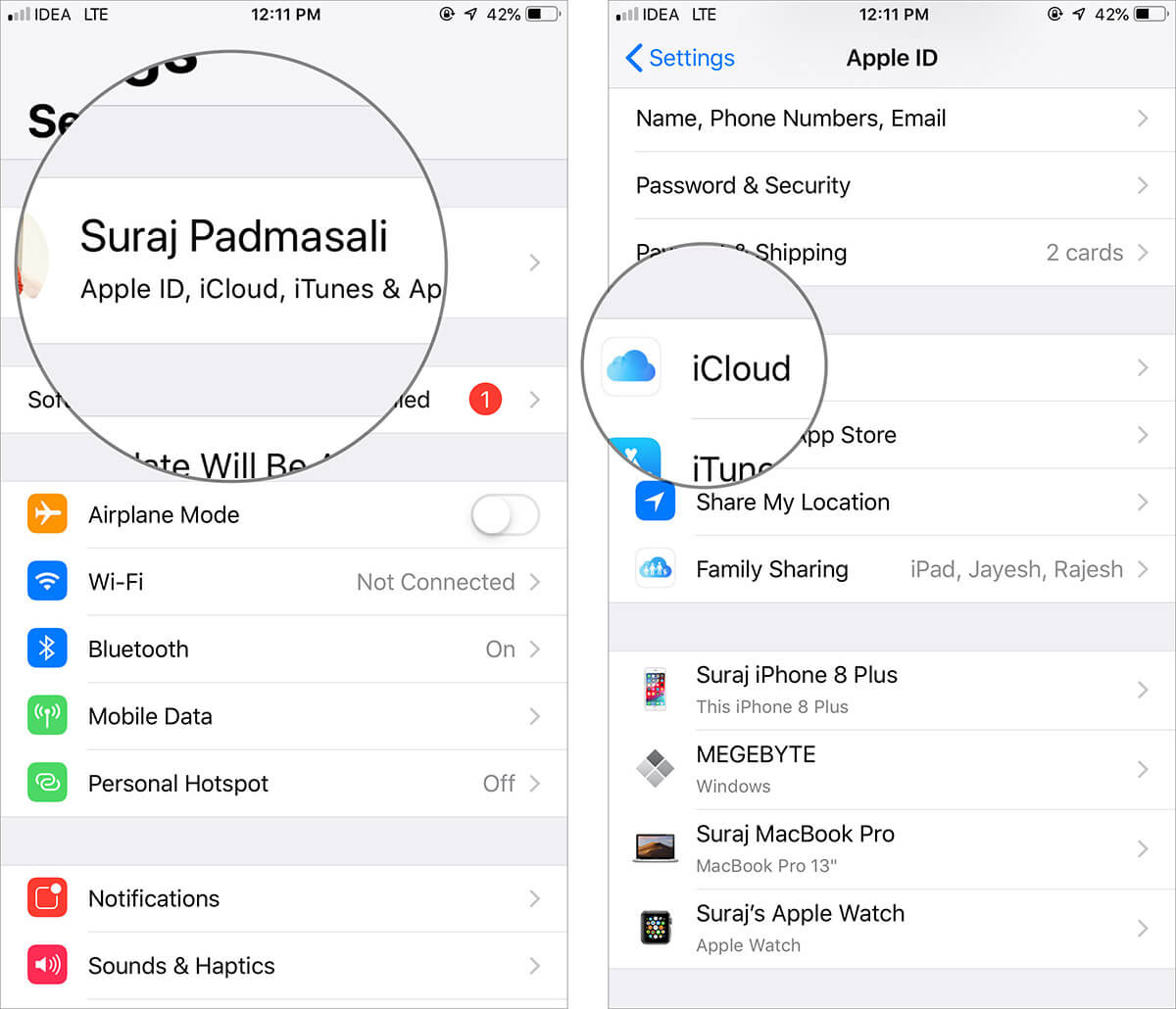 Tap on Profile icon and then hit iCloud in iPhone Settings