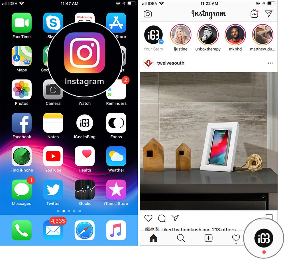 Tap on Profile icon in Instagram App