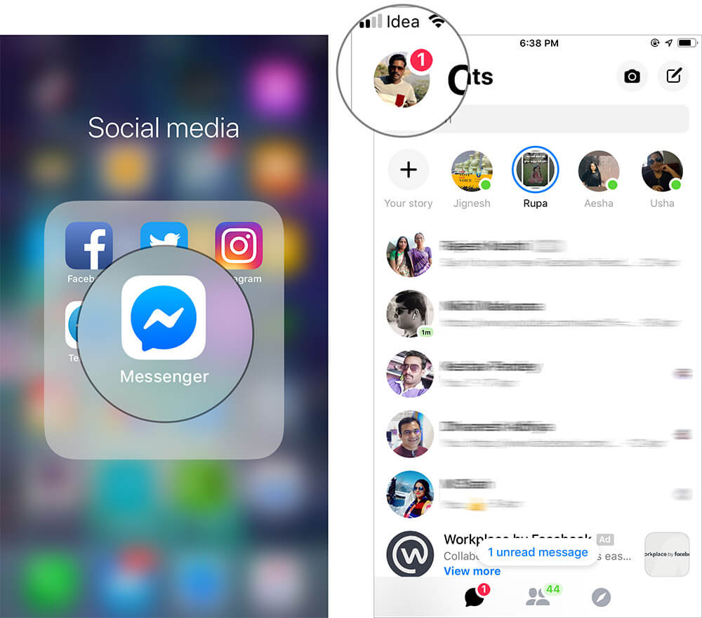 Tap on Profile icon in Messenger app