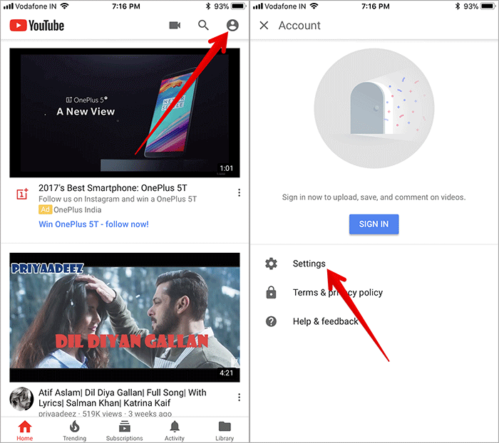 Tap on Profile then Settings in YouTube App on iPhone