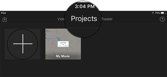 Tap on Projects in iMovie App on iPad