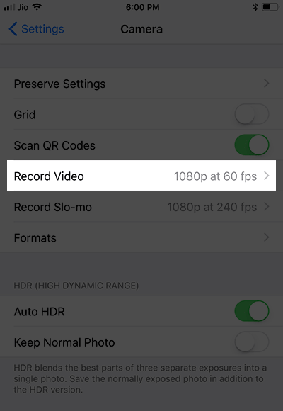 Tap on Record Video in iPhone X Camera Settings