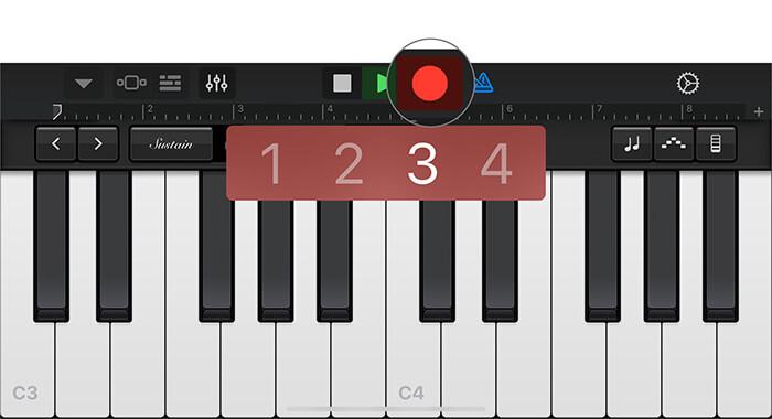 Tippen Sie auf den roten Punkt, um Ihre Stimme in der GarageBand-App auf dem iPhone aufzunehmen