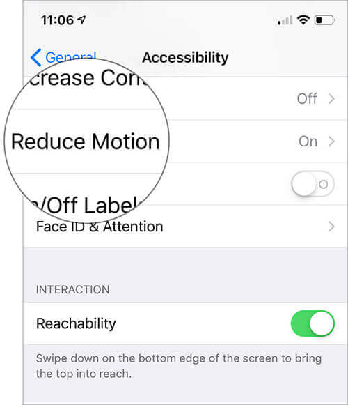 Tap on Reduce Motion in iPhone Settings