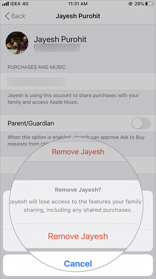 Tap on Remove Account again to confirm in iOS Family Sharing Setting
