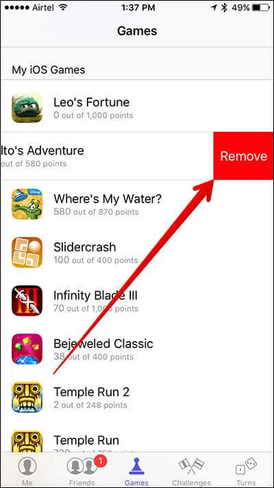 Tap on Remove Game in Game Center