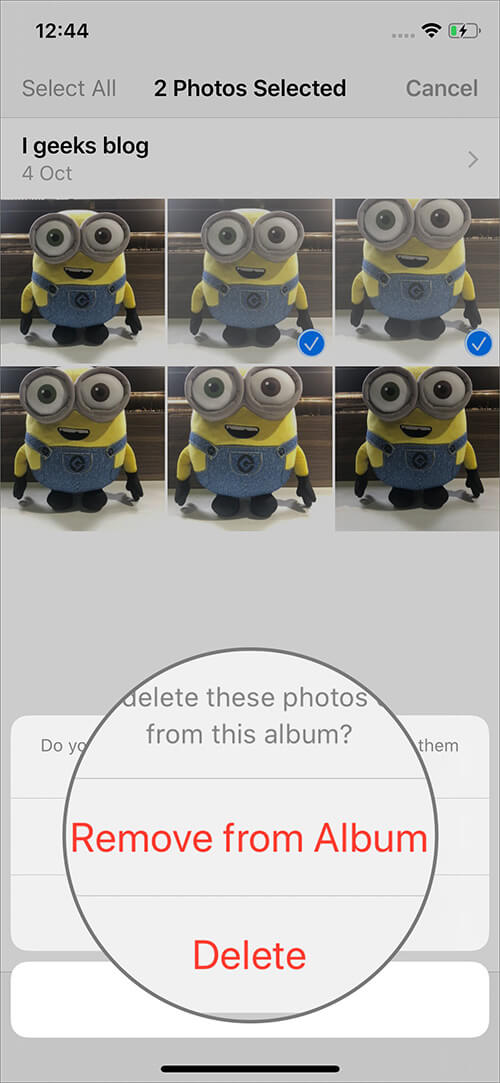 Tap on Remove from Album to Delete Photos from Albums on iPhone in iOS 13